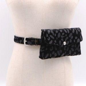 Black Animal Printed Belt Bag